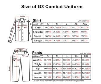 AOR2 combat uniform Size Chart